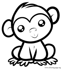 Small Picture Monkeys A cute baby monkey sitting coloring page