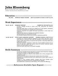 Therapeutic Massage Resume