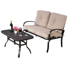 2pcs patio garden outdoor loveseat coffee table set furniture bench w cushion us