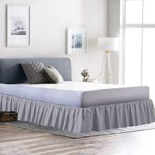 Light Grey Bed Skirt Full Cottingos Ruffle Gathering Bedskirt Light Grey Queen Size Bed Wrap Platform 15 Inch Three Side Coverage Gathered Style Easy Fit Made Brushed