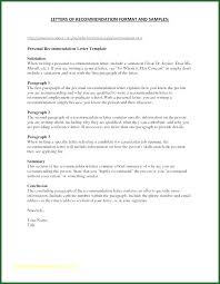 Personal Letter Of Recommendation Format