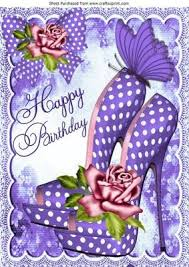 Pretty Purple Polka Dot Shoes With Roses For Birthday A4 Birthdays