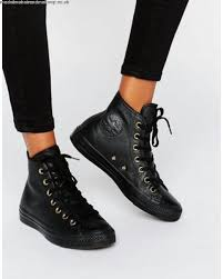 converse black high tops. women converse black faux shearling lined leather chuck taylor hi top trainers 927581 high tops