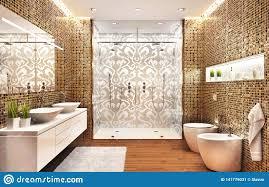 Os banheiros devem estar com dimensões minimas de. Banheiro Moderno Com Uma Grande Casa De Banho Com Chuveiro E Um Teste Padrao De Mosaico Bonito Imagem De Stock Imagem De Retrato Brilhante 141779031
