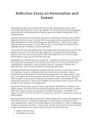 reflective essay on presentation and debate emotions