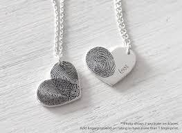 custom actual fingerprint heart necklace delicate new