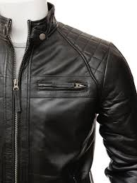 men s black leather biker jacket sibiu side