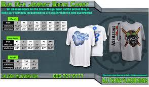 Custom Sports Apparel Size Charts Custom Sublimated