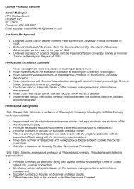 college professor resume