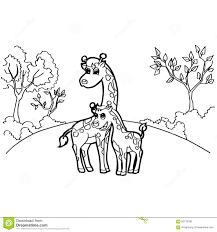 Printable Coloring Pages coloring page giraffe : Giraffe Cartoon Coloring Pages Vector Stock Vector - Image: 56779780