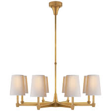 caron large chandelier in hand rubbed antique brass with natural paper shades