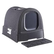 Grey Basketweave Litter Box ...