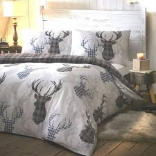 tartan stag grey quilt cover sets