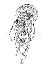zendoodle stylized jellyfish for t shirt design tattoo and coloring book page stock vector stock vector colourbox