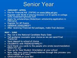 the college process presented by the watertown high school  6 senior year continue to work hard complete transcript request in guidance release form on naviance application online mail college