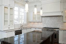 kitchens with dark floors and light cabinets white backsplash subway tile kitchen backsplash ideas white cabinets black countertops small white galley