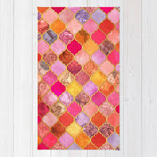 hot pink gold tangerine taupe decorative moroccan tile pattern area throw rug
