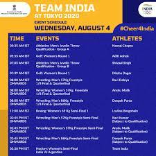 India Schedule at Tokyo Olympics ...