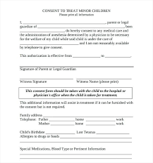 Printable Medical Release Form For Children Inspiration Authorization For Minors Medical Treatment Forms On Childrens
