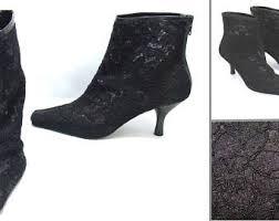 wedding boots etsy Wedding Boots Black vintage lace boots black lace shoes size 6 1 2 ladies lace boots wedding shoes block heel