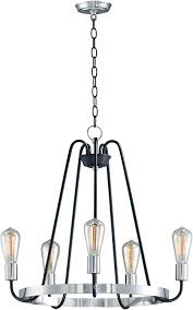maxim 11735bksn haven contemporary black satin nickel chandelier light loading zoom