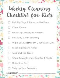 cleaning checklist weekly cleaning checklist for kids happiness is homemade