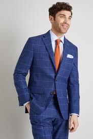 Light Blue Windowpane Suit Details About Moss 1851 Mens Suit Jacket Tailored Fit Bright Blue Windowpane 2 Button