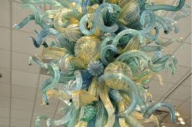 detail of dale chihuly s golden teal chandelier