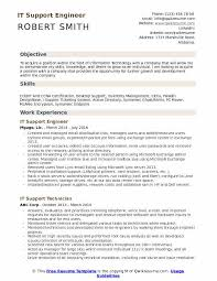 resume for it company it support engineer resume samples qwikresume