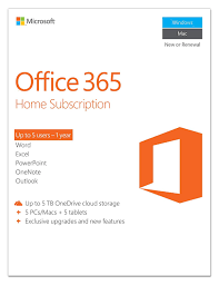 Microsoft Office 365 Pricing Microsoft Office 365 Home 1 Year Subscription 5 Users Pc Mac Key Card