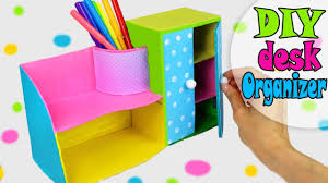 Diy Desk Organizer Diy Desk Organizer Multifunctional From Cardbox Easy Tutorial