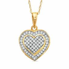 t w diamond heart pendant in 10k gold