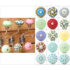 Shabby Chic Coat Rack Ceramic Knob Bohemian Wall Hooks Coat Key Shabby Chic Decorative Hat 99