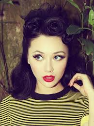 gorgeous plexion and contrast with the red lips pin up makeup vine makeup