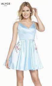 Short Formal Light Blue Dress Formal Dress 3888 Short V Neck Fit N Flare Open Back
