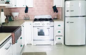 What Is Backsplash Extraordinary Retro Kitchen Pink Tile Backsplash Big Chill Liances Stove R Luxury