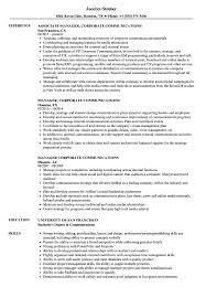 Manager Corporate Communications Resume Samples Velvet Jobs
