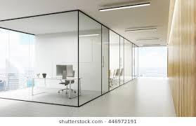 glass door office. Side View Of Office Interior With Blank Whiteboard Behind Glass Doors, Hallway Concrete Floor Door F