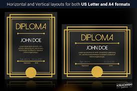 art deco diploma template stationery templates creative market art deco diploma template stationery
