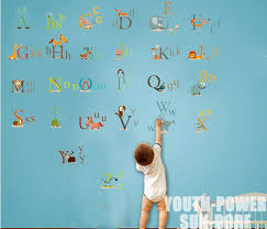 26 animals alphabet baby kids nursery wall art sticker vinyl decals boys girls home room decor decorations removable educational in wall stickers from home  on baby boy room decor wall art with 26 animals alphabet baby kids nursery wall art sticker vinyl decals