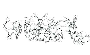 Eeveelutions Coloring Pages Pokemon Eevee Evolutions All Together