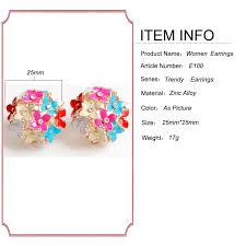 2018 New High Quality 4 Color Pink <b>Flower</b> Four Leaf Ball Stud ...