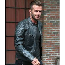 david beckham biker jacket mens black leather quilted jacket