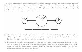 solved the figure below shows three solid conducting sphe Residential Electrical Wiring Diagrams question the figure below shows three solid conducting spheres arranged along a line and connected by wire