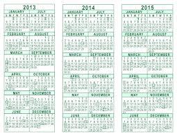 Calendar 2013 Through 2015 2013 2014 2015 3 Year Calendar