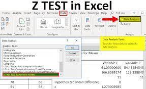 z test in excel formula exles