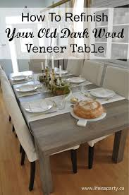 how to refinish a dark wood veneer dining room table