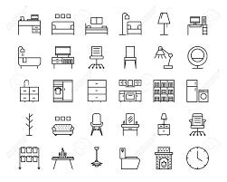 Icon Design Furniture 30 Furniture Outline Icon Set Icon For Web And Ui Design Modern