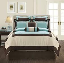 fashion street gramercy 8 piece comforter set queen aqua brown