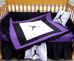 new 7 piece baby crib bedding set in purple black white jordan